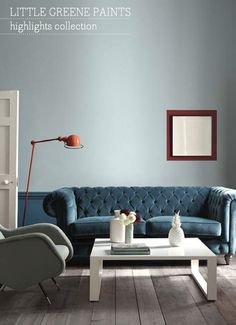 Little Greene Paint, Celestial Blue, Marine Blue, Bronze Red Peinture Little Greene, Little Greene Paint, Living Room Interior, Living Room Decor, Bedroom Decor, Interior Walls, Living Rooms, Deco Cool, Teal Sofa