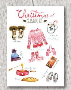 Christmas Survival Kit (set of 4) watercolor christmas card, funny Christmas card