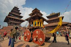 Devotees prepare giant chariot for tug-of-war during Bisket Jatra (New Year) celebration in Bhaktapur, Nepal