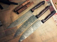 Acid Etched Chef Knives