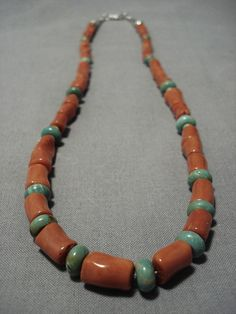 Chunky Rare Tubule Coral Vintage Native American Navajo Sterling Silver Green Turquoise Necklace