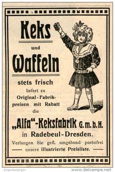 Original-Werbung/Inserat/ Anzeige 1912 - KEKS / WAFFELN - ALFA KEKSFABRIK RADEBEUL - ca. 75 X 100 mm