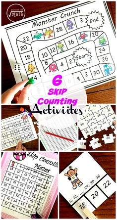 These 6 skip counting activities are perfect for helping your children practice skip counting. Every activity works on number 2 through 15. They also count all the way to the 15's (example 2 x 15, 3 x 15). This makes them perfect for helping children memorize the new math memory work for Classical Conversations.