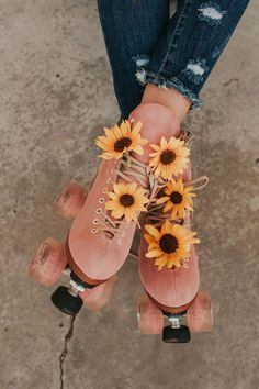 Distressed denim with pink rollerskates and sunflowers. Distressed denim with pink rollerskates and sunflowers. Distressed denim with pink rollerskates and sunflowers. Flower Aesthetic, Summer Aesthetic, Aesthetic Collage, Aesthetic Vintage, Aesthetic Photo, Pink Aesthetic, Aesthetic Pictures, Photography Aesthetic, Aesthetic Clothes
