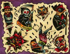 Clowns n Roses n Death Tattoo Flash Sheet. $50.00, via Etsy.