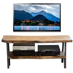 Industrial Modern Live Edge Slab TV Stand