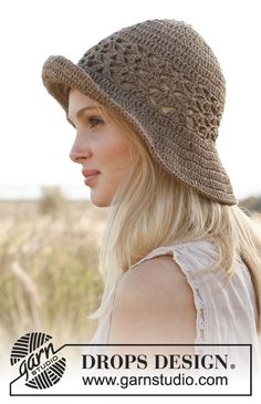 Virkattu DROPS hattu Bomull Lin- tai Paris-langasta. Ilmaiset ohjeet DROPS Designilta.
