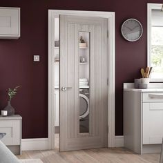 Somerset Light Grey Internal Door with Clear Safety Glass - Prefinished - Lifestyle Image. Grey Internal Doors, Grey Doors, Wood Doors, Interior Door Styles, Interior Modern, Grey Windows, Windows And Doors, Seaside Decor, Studio Apt