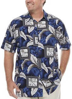 The Foundry Big & Tall Supply Co. Big and Tall Mens Short Sleeve Button-Front Shirt, Color: Navy - JCPenney Mens Big And Tall, Big & Tall, Short Sleeves, Men Casual, Buttons, Mens Tops, Shirts, Clothes, Products