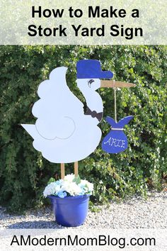 DIY Stork Yard Sign | Baby Shower Gift Ideas | Newborn Presents | Read step by step instructions on how to make this cute welcome home gift on A Modern Mom Blog here: http://www.amodernmomblog.com/2016/09/baby-shower-gift/