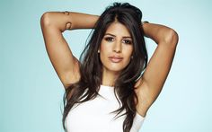 Download wallpapers Jasmin Walia, 4K, Indian actress, portrait, smile, make-up, white dress, British actress