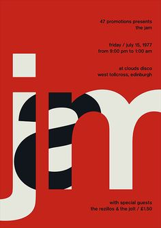 Bold Jam typography poster design with lettering in negative space of the other letters. Type Posters, Graphic Design Posters, Graphic Design Typography, Graphic Design Inspiration, Rock Posters, Minimalist Graphic Design, Creative Typography, Vintage Graphic Design, Poster Designs