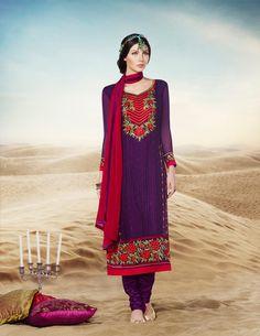 Purple Faux Georgette Churidar Suit 69710