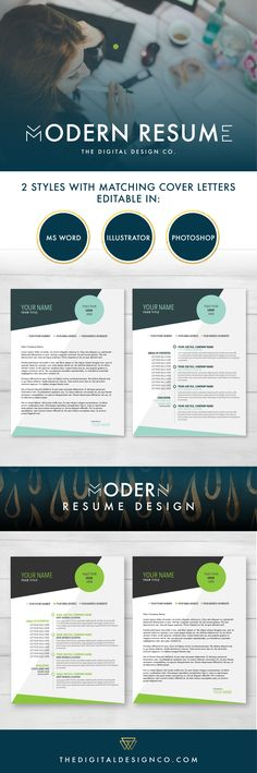 Download now at: http://www.thedigitaldesignco.com/shop/modern-resume-package  This modern resume template package is designed for everyone! It comes in editable format for Word, Illustrator and Photoshop. This is a great resume template if you want your resume to stand out above the rest of the pile.   The Digital Design Co. creates beautiful digital products for less. This resume template will help your resume stand out from the rest! $5.00