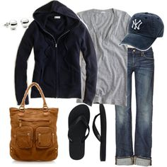ideal weekend outfit for a sports game: hoodie, tee, jeans, flip flops, hat, and favorite tote