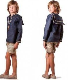Traje marinero de La Pequeña Costura Little Boy Fashion, Teen Fashion, Kids Photography Boys, Young Cute Boys, Sissy Boy, First Communion, Western Shirts, Kind Mode, Couture