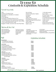 72 Hour Kit Contents & Expiration Schedule – super duper handy, you don't have t… – Survival Kits – Grandcrafter – DIY Christmas Ideas ♥ Homes Decoration Ideas 72 Hour Kit List, 72 Hour Emergency Kit, 72 Hour Kits, Emergency Preparation, Emergency Supplies, In Case Of Emergency, Emergency Planning, Family Emergency, Survival Supplies