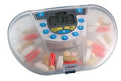 Gasketed Vitacarry 8 Compartment Clear Pill Reminder with 7 Day Timer Alarm (Clear with Timer)