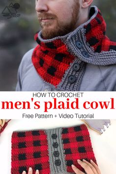 This crochet men's plaid cowl is a quick ans easy project. Free crochet pattern and video tutorial by Winding Road Crochet. # crochet scarves videos Men's Plaid Cowl Crochet Pattern and Video Tutorial Plaid Crochet, Easy Crochet Hat, Crochet Video, Crochet Beanie, Crochet Shawl, Free Crochet, Tutorial Crochet, Crochet Man Scarf, Crochet Scarves For Men