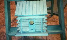 Check out this item in my Etsy shop https://www.etsy.com/listing/218058616/turquoise-wooden-birdhouse-cabin