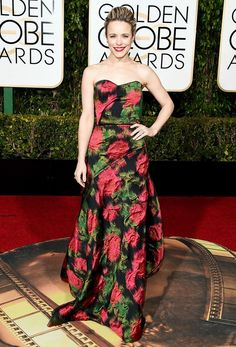 Rachel McAdams wears a strapless abstract rose-print draped gown with Forevermark jewelry.