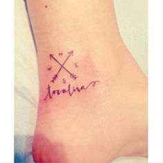 small tattoo, custom tattoo, hand-drawn, family, compass Word would be family? Last name?
