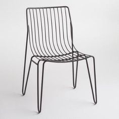 """Black Metal Amara Hairpin Stacking Chairs Set of 2 -- """"Featuring mid-century-inspired hairpin legs, our metal chairs stack for compact storage. Keep an extra pair on hand for effortless entertaining. Metal Outdoor Chairs, Metal Chairs, Patio Chairs, Outdoor Rooms, Outdoor Decor, Dining Chairs, Blue Chairs, Office Chairs, Accent Chairs"""