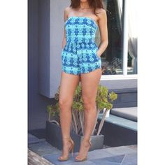 """Teal Aztec Print Romper #422-TS Teal Aztec print romper with pockets. 95% Rayon 5% Spandex. Made in U.S.A. Hand wash. Bust measured laying flat is 24"""" and it is elastic so it will stretch out 4"""" more. Waist 23"""" also elastic. Length 21"""". Always Me Pants Jumpsuits & Rompers"""