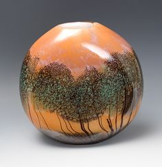 Sunset Round Flat Vase: Robert Held: Art Glass Vase - Artful Home