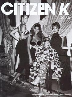 Linda Evangelista, Naomi Campbell, Christy Turlington in Versace. 1990 w/ Anna Piaggi.