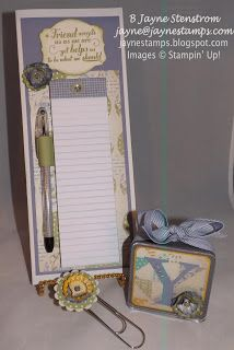 "Convention roommate gifts - altered file folder, matching pen, jumbo paper clip, and personalized mini frame.  This set was made with the ""Afternoon Picnic"" designer series paper."