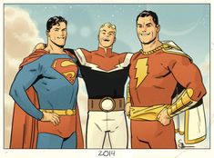 Golden Age BFFs: Superman, Flash Gordon and Captain Marvel by Eric 'Doc' Shaner
