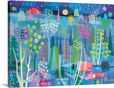 "Colorful depiction of a night in the forest with bright colors - ""Blue Night Forest"" wall art by Charles Harker from Great BIG Canvas"