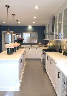 Rejuvenation Kitchen: HGTV kitchen remodel featuring George pendants + Reeds sconces from Rejuvenation.