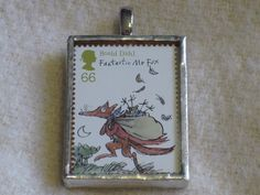 I'm not sure if it would be possible for me to love this stamp set more. | Postage Stamp Pendant: Fantastic Mr Fox by bookshelvesofdoom, $16.00