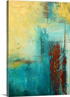 "Vertical abstract painting with a variety of textured lines and patches of color - ""Distant Limit"" wall art by Erin Ashley from Great BIG Canvas #abstractart"
