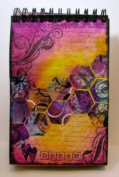 love these colors together - done with distress inks and archival ink for base, then distress inks and dylusions for hexagons on top