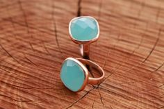 """Miracles by Annelien Coorevits """"Handmade collection"""" - Ring Ashley Rosegold Aqua Chalcedony - Luxedy"""