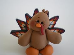 Fall Turkey for Thanksgiving by Helen's Clay Art - Polymer Clay Fall Harvest Decoration