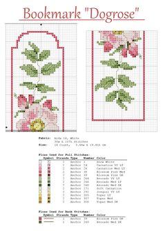 Cross stitch Bookmark Dogrose
