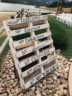 Affordable Rustic: This easy DIY wooden pallet sign is inexpensive to make! You can often find pallets at hardware stores for free, then use different fonts to highlight your wedding events.