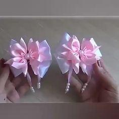Diy Lace Ribbon Flowers, Ribbon Flower Tutorial, Diy Ribbon, Paper Flowers Diy, Ribbon Crafts, Handmade Flowers, Flower Crafts, Fabric Flowers, Cheer Bow Tutorial