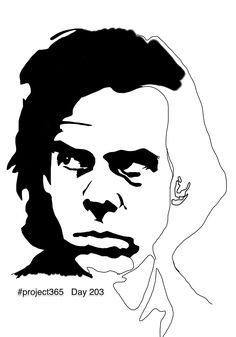 Day 203 Most of the day was spent listening to Leonard Cohen. To wean myself off him I turned to Nick Cave for assistance. Then I thought, 'sure I might as well draw that fantastic face' and so I started. To be completed.  #project365 #fabcow #francisleavey #nickcave #badseeds #youwantitdarker #celebratethesublime
