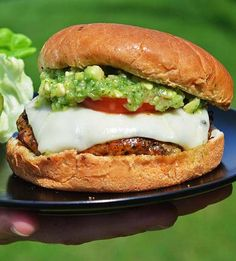 Mexican Pork Burgers with Tomatillo-Avocado Salsa #recipe