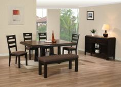 """Dining Table with Butterfly Leaf and 4 High Back Side Chairs and a Bench #AD 91640,91641,91622 by HP. $999.99. Dining Table with Butterfly Leaf. server not included. table:68""""Lx50""""W,bench:48""""Lx18""""Dx18""""H. Bench. 4 High Back Side Chairs. some assembly maybe required."""