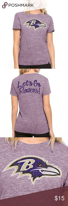 "Baltimore Ravens Women's '47 MVP Hero Tee Brand New Officially Licensed with tags. This soft tri-blend heathered tee is sure to keep you in style.  50% poly/37% cotton/13% rayon.  Distressed logo on front, ""lets go ravens!"" on the back.  889313604910 47 Tops Tees - Short Sleeve"