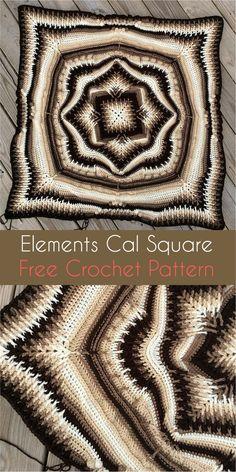 Elements Cal Square for Blankets, Pillows, Centrepieces [Free Crochet Pattern] #crochet #crochetlove #crochetaddict