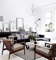scandinavian lounge with black leather sofa - Google Search