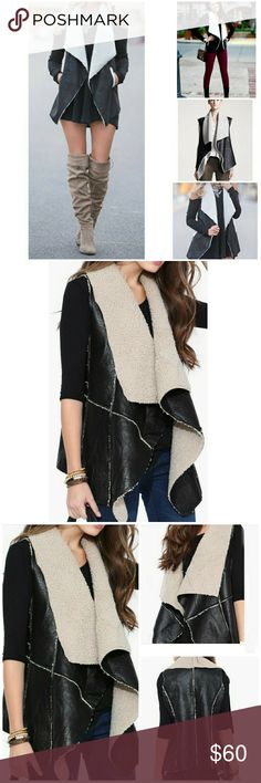 🌟NEW! Super Chic Suedette Shearling Vest Essential Fall Wardrobe Piece - BEST SELLER!    Black/White Suedette Shearling Vest  Faux Leather  Dry Clean  Sizes: S/M - M/L  ▪ Price Is Firm  ▪ No Trades  ▪ Fast Shipping Moda Ragazza Jackets & Coats Vests