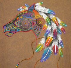 Sportex Embroidered Colorful Native American Indian Horse Pony T Shirt Tattoos Skull, Tribal Tattoos, Arte Equina, Native American Horses, Indian Illustration, Indian Horses, Indian Animals, Watercolor Horse, Tattoo Watercolor